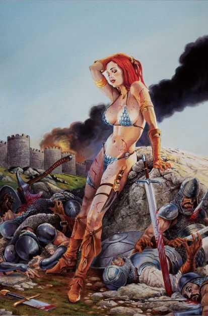 Dynamite - Invincible Red Sonja # 1 Paralel Evren Levend Canga Virgin Exclusive Variant